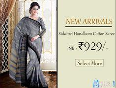 Grey Siddipet Cotton Saree Product code: SHSA90C110 Retail price: 975/- Sale price: 929/-