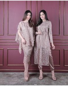 💕light brown💕 Right : amar (Price Left: riyyu (Price Fit t. 💕light brown💕 Right : amar (Price Left: riyyu (Price Fit to L 💕READY STOCK💕 Kebaya Modern Hijab, Dress Brokat Modern, Model Kebaya Modern, Kebaya Hijab, Dress Brukat, Hijab Dress Party, Batik Dress, Dress Outfits, Kebaya Lace