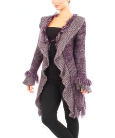 This Purple Sidetail Ruffle Cardigan is perfect! #zulilyfinds