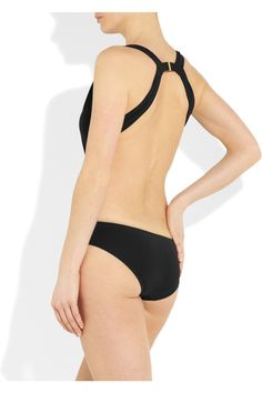 GUCCI  Plunge-front crystal-embellished swimsuit  Back View