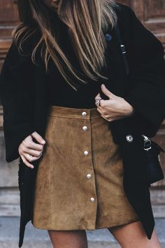 Brown suede button skirt + black top. | FALLing for Style ...