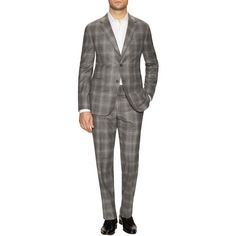 Martin Greenfield Men's Chelsea Plaid Notch Lapel Suit - Grey, Size... ($799) ❤ liked on Polyvore featuring men's fashion, men's clothing, men's suits, grey, mens clothing, mens plaid suit, mens gray suit, mens wool suits and men's apparel