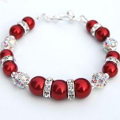 Sparkling Red Pearl Rhinestone Bridesmaid Bracelet