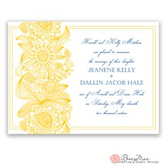 Whimsical Wedding Invitations, Paper Design, Getting Married, Color Schemes, Floral Design, Marriage, Navy, Yellow, Fun