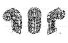 Black Medieval Armor Tattoos Design