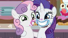 #1436345 - cute, diasweetes, food, forever filly, messy eating, raribetes, rarity, safe, screencap, sisters, spoiler:s07e06, sweetie belle - Derpibooru - My Little Pony: Friendship is Magic Imageboard