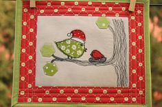 Baby's First Christmas Birdie Quilt - free motion embroidery and hexagons