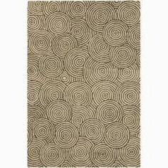 @Overstock - A thick, soft pile highlights this area rug. Hand-tufted in India using premium quality wool, this area rug features a beautiful geometric circles design in shades of green against beige background.http://www.overstock.com/Home-Garden/Mandara-Unique-Hand-tufted-Wool-Rug-6-x-9/6027877/product.html?CID=214117 $290.50