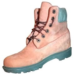 Pre-owned Timberland Pink Boots ($101) ❤ liked on Polyvore featuring shoes, boots, pink, timberland boots, pink boots, high top boots, timberland footwear and hi-tops