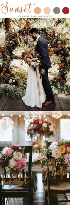 Vintage Sunset Orange Wedding Color Ideas for 2019 – Erin Wheat Co. Vintage Sunset Orange Wedding Color Ideas for 2019 sunset orange fall wedding color ideas – fall wedding decor ideas Orange Wedding Colors, Fall Wedding Colors, Autumn Wedding, Wedding Color Schemes, Rustic Wedding, Wedding Flowers, Trendy Wedding, Orange Color, October Wedding Colors