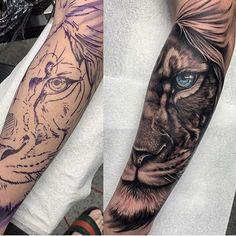 La imagen puede contener: una o varias personas Tatoo Tiger, Leo Lion Tattoos, Lion Forearm Tattoos, Animal Sleeve Tattoo, Animal Tattoos, Sleeve Tattoos, Manga Tattoo, S Tattoo, Nautical Tattoo Sleeve