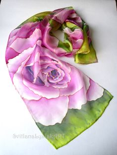 Gift for her Hand dyed silk scarf Lilac rose scarf by ArtSilkLana