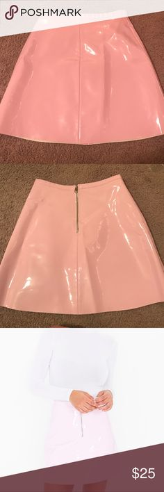 Baby Pink Vinyl Skirt American Apparel's vinyl a-line skirt! Super unique and really cute! Worn only once! It's lined with felt on the inside so it isn't uncomfortable. It's this adorable light pink color and flatters your figure American Apparel Skirts A-Line or Full