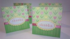 Set of 4 Pink and Yellow Flower Thank You Cards by NyraCards,