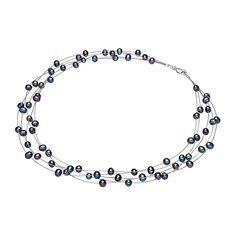 Colier multișir Valero Pearls argint cu perle de cultură negre