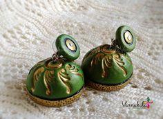 GREEN & GOLD JUMKA Handmade terracotta earring by Varnakala