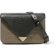Alexander Wang Prisma small croc and lizard-effect leather shoulder... (6.235 NOK) ❤ liked on Polyvore featuring bags, handbags, shoulder bags, clutches, black, genuine leather purse, leather shoulder bag, croc handbags, structured handbags and shoulder strap purses