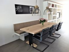 Custom Furniture Portfolio Living in Style Furniture Manufacturing - Kitchens - Interior dining room with sofa and chairs - Banquette Seating In Kitchen, Dining Table With Bench, Dining Nook, Dining Room Design, Custom Furniture, Kitchen Interior, Home And Living, House Styles, Interior Design