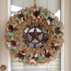 Burlap+Wreath+Natural+Brown+Turquoise+and+by+SignsBYDebbieHess,+$65.00