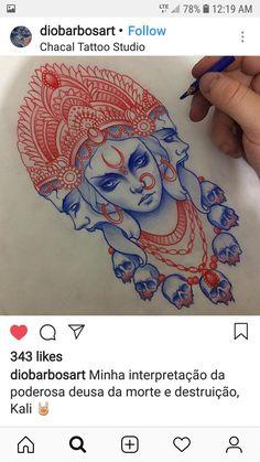 Hindu Tattoos, God Tattoos, Body Art Tattoos, Sleeve Tattoos, Kali Tattoo, Shiva Tattoo Design, Witchcraft Tattoos, Dibujos Dark, Tattoo Studio