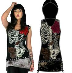 Too Fast Tattoo Skeleton Skull Gothic Punk Emo Hoodie Dress Pin Up Tunic Shirt