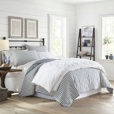 Willow Way Ticking Stripe Quilt Set - Stone Cottage : Target Striped Bedding, Striped Quilt, Ticking Stripe, Navy Quilt, Blue Bedding, King Quilt Sets, Queen Quilt, Thing 1, King Pillows