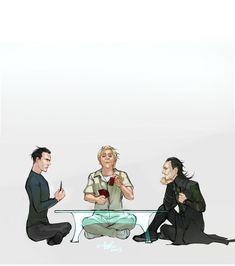 The alliance of those-who-have-been-in-a-glass-cage. Khan STID, Silva Skyfall, and Loki Thor. Loki Marvel, Loki Thor, Tom Hiddleston Loki, Avengers, Nerd Jokes, Character Poses, Skyfall, Marvel Memes, Beautiful Artwork