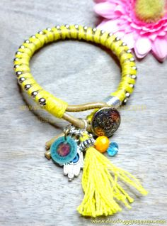 Friendship lucky leather bracelet in Yellow by DazzlingGypsyQueen, €27.95