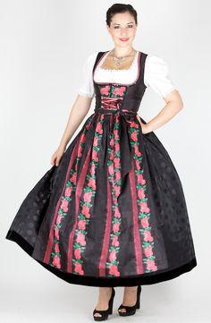 10753 Krüger Manufaktur Dirndl 95er Gr 32 schwarz pink - Trachtenhimmel