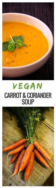 This Vegan Carrot and Coriander Soup is colorful, creamy, and packed with flavor. It's perfect for a simple dinner or a work week lunch. Plus, it's completely vegetarian, vegan, and dairy-free. via @deliciouseveryday