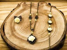 Sárga színű rózsás gyűrű karkötő és nyaklánc szett