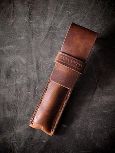 """Reynolds"" saddle tan handmade leather pen case - Bas and Lokes"