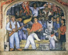 Photo of the Diego Rivera 'Arsenal' mural to celebrate Mexico Independence Day. Diego Rivera, Watercolor Art Paintings, Mural Painting, Mural Art, Austria, Mexican Revolution, Frida And Diego, Hammer And Sickle, Aztec Culture