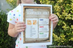 Nature Scavenger Hunt List. Great Summer Acitivity or Birthday Party Activity. Website has free Printables