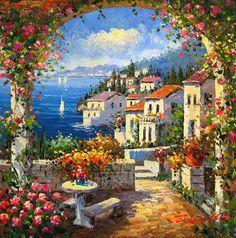 Romantic Mediterranean, Italian Riviera ~ c.c.c~Oil On Canvas