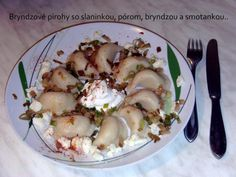 Brynzové pirohy se slaninou, pórkem a smetanou | NejRecept.cz Potato Salad, Good Food, Potatoes, Meat, Chicken, Ethnic Recipes, Author, Potato, Healthy Food