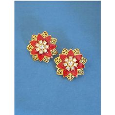 "Avon Flower Earrings, ""Festive Sparkle Vintage, Red Enamel Icy Clear... (24 CAD) ❤ liked on Polyvore featuring jewelry, earrings, red rhinestone earrings, floral earrings, vintage red earrings, vintage rhinestone jewelry and vintage earrings"