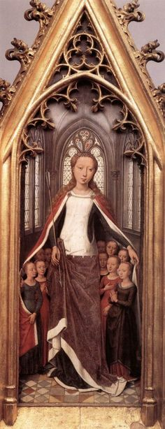St. Ursula and her 11,000 virgins. I don't know how she was able to fit all those virgins underneath her cape. I guess you can do those things when you're a saint.