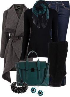 """""""Black and Teal"""" by averbeek on Polyvore"""