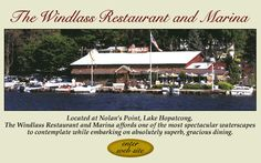 The Windlass - Lake Hopatcong, NJ Been going since I was a kid, looks exactly the same on the inside, best part is the view as it's a marina. Lake Hopatcong, New Jersey, Restaurants, Destinations, Outdoors, Kid, Places, Child, Restaurant