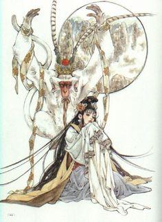 日本画家皇なつき,也叫皇 名月。她眼中的...@GuzYs_王大可采集到喜欢~(1180图)_花瓣插画/漫画