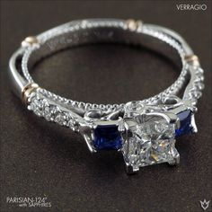 Parisian-124P with deep blue Sapphires instead of the standard side diamonds to personalize with birth or wedding gems.  Learn more> http://www.verragio.com/Verragio-Engagement-Rings/Parisian-Engagement-Rings/PARISIAN-124P