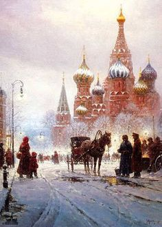 Moskwa - Rosja By Gerald Harvey Jones 1933 G Harvey, Place Rouge, Pintura Country, Great Paintings, Christmas Scenes, Horse Art, Western Art, Traditional Art, Picasso