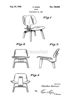 'Iconic Eames LCW Molded Plywood Chair Patent Drawings' Photographic Print by Framerkat Show your love of this amazing mid-century furniture design! I also have other patent drawings of other chair models…they make a great group Charles Eames, Adirondack Chair Plans Free, Adirondack Chairs, Furniture Styles, Furniture Design, Furniture Logo, Furniture Outlet, Kitchen Furniture, Industrial Office Chairs