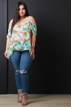 Semi-Sheer Tropical Cold Shoulders Top
