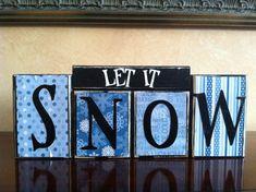 Wood LET IT SNOW block set - Wood Sign - Seasonal Winter Home Decor on Etsy, $20.00