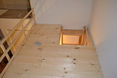 We cut the pine boards a little shorter in this area to allow entry using the ladder