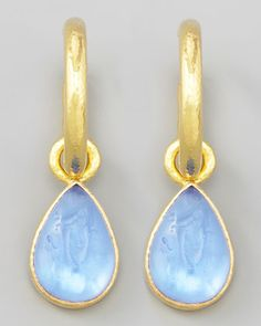 Cerulean Intaglio Teardrop Earring Pendants by Elizabeth Locke at Neiman Marcus.
