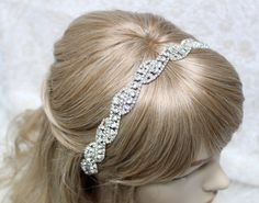 Bridal headband Bridal head piece Rhinestone headband by mirino, $34.00