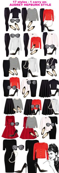 17 styles with only 10 pieces. It's classic and never out of date - Audrey Hepburn I love Black and White with a sparkle of Passion Red. Doesn't get more classic than Audrey!